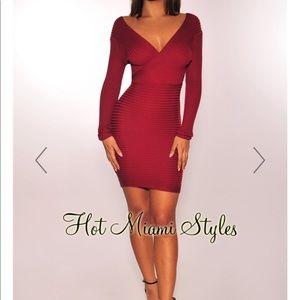 Wine Ribbed Knit Off Shoulder Long Sleeves Dress